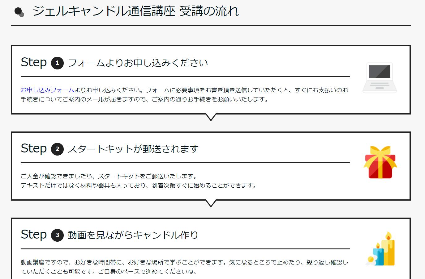 ハンドメイドキャンドル通信講座LP
